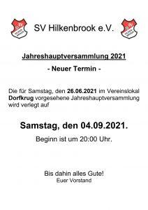 Neuterminierung der Jahreshauptversammlung 2021
