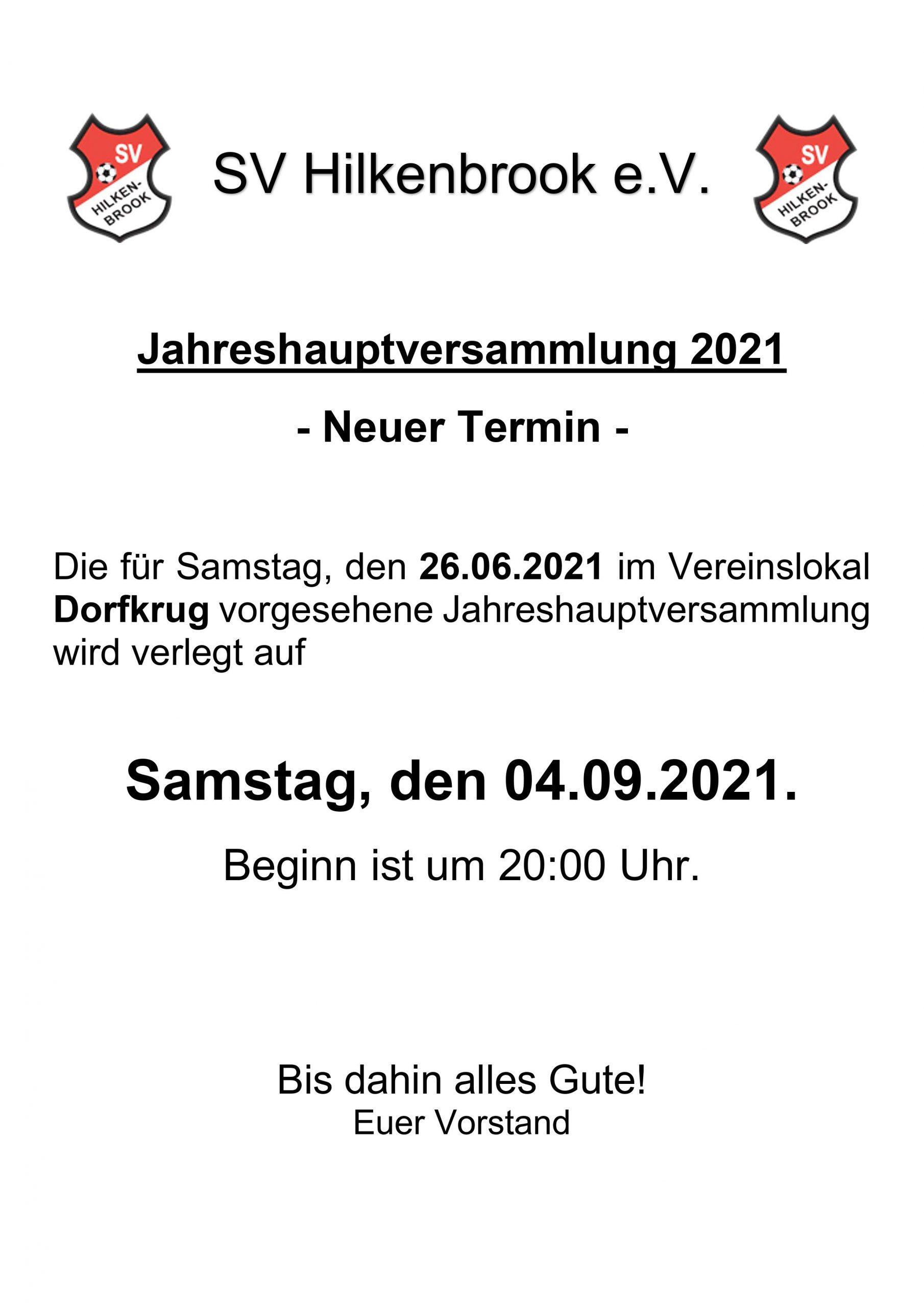 Read more about the article Neuterminierung der Jahreshauptversammlung 2021