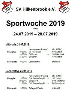 Ablaufplan Sportwoche 2019
