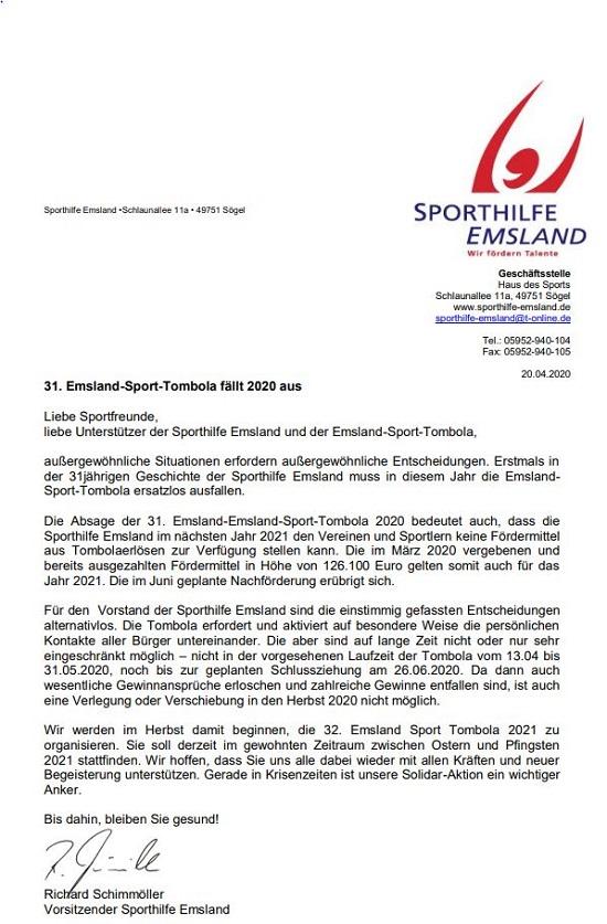 31. Emsland-Sport-Tombola fällt 2020 aus