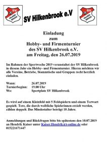 Read more about the article Einladung Hobbyturnier & Sportwoche 2019