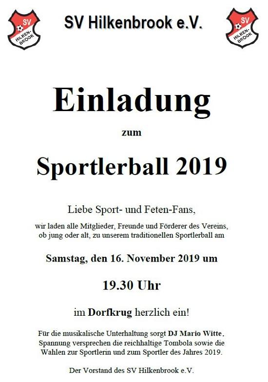 Einladung zum Sportlerball 2019