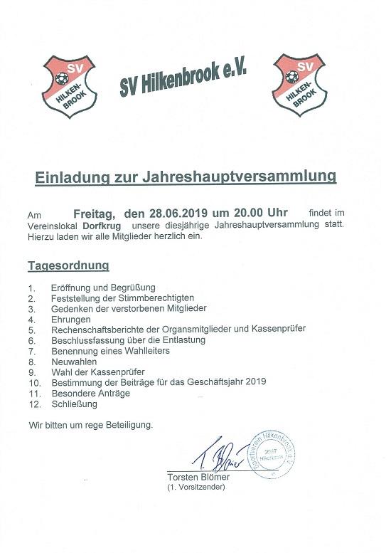 Einladung zur Jahreshauptversammlung 2019